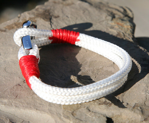 White and Red Sailing Cord Bracelet with Chrome Anchor Clasp 3