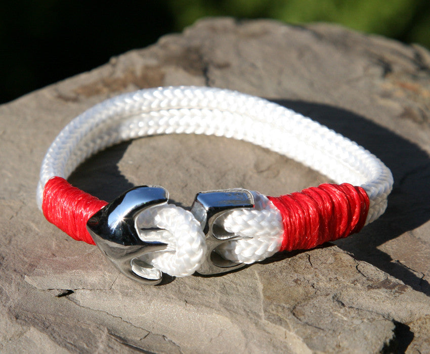 White and Red Sailing Cord Bracelet with Chrome Anchor Clasp 1