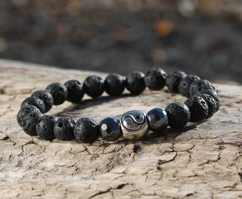 Black Lava Rock Yin Yang Natural Stone Bracelet