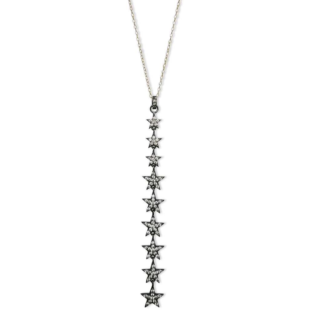 9 cz vertical star necklace