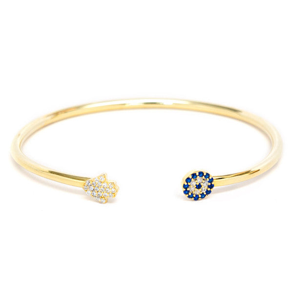 Hamsa and evil eye cz cuff bracelet