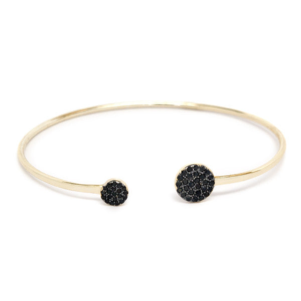 Black cz double circle cuff bracelet