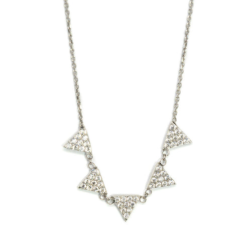 Five triangle cz necklace