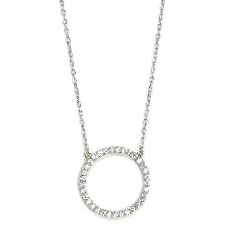 Large cz open circle necklace