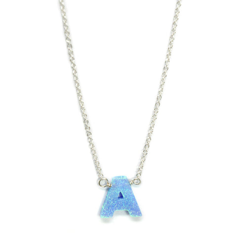 Blue opal initial necklace