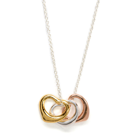 Tri color open curved heart necklace