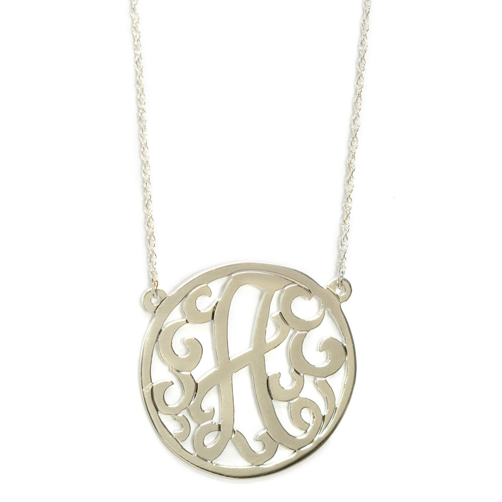 "Single initial 1.25"" necklace"