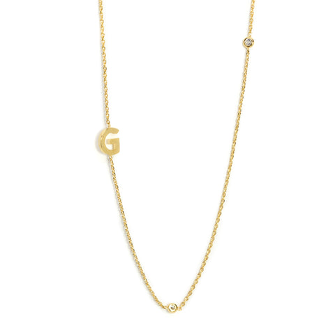 Three cz initial necklace