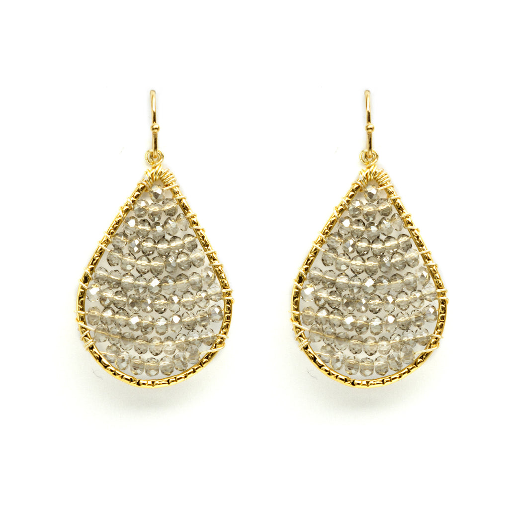 Small beaded teardrop earring
