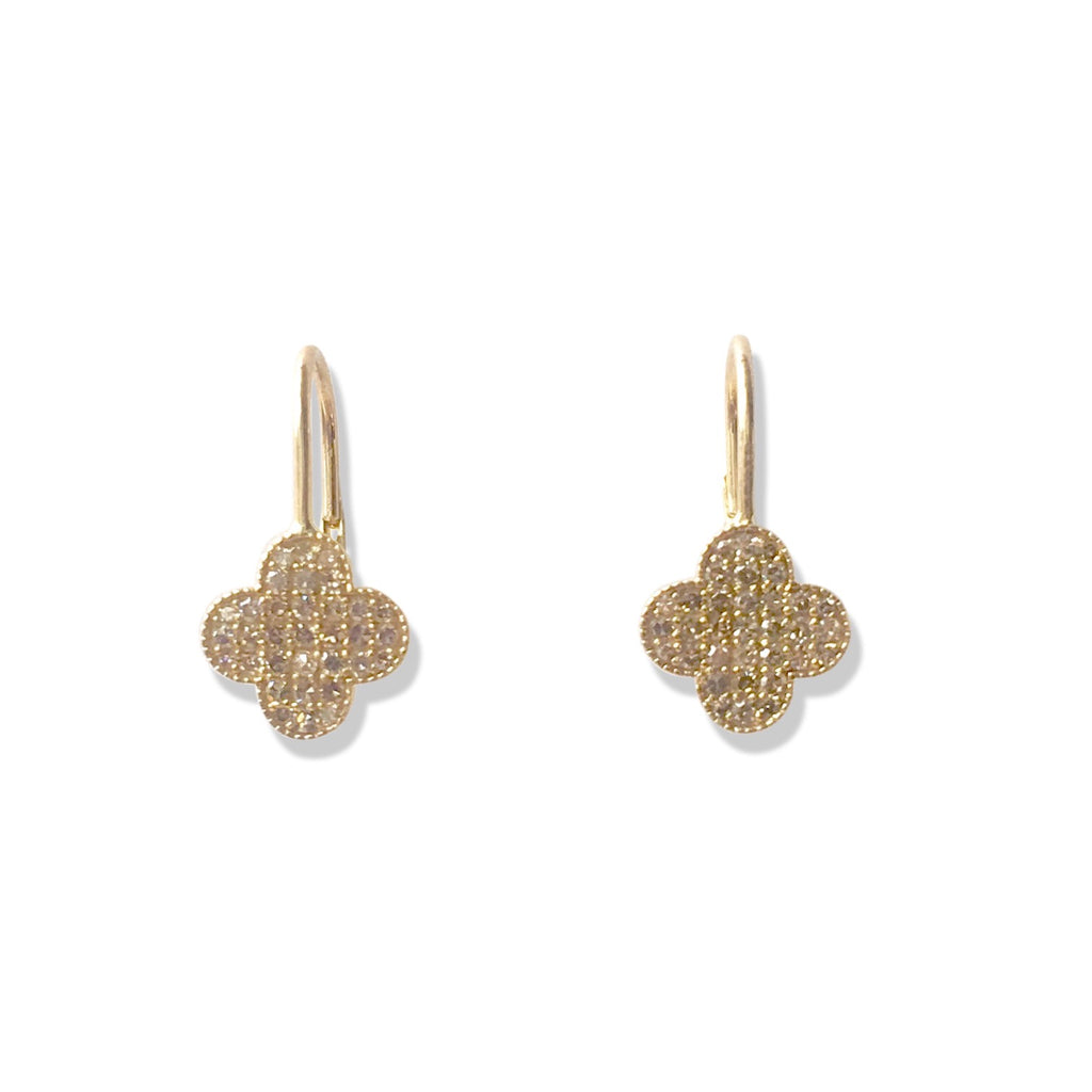 Diamond pave clover ear