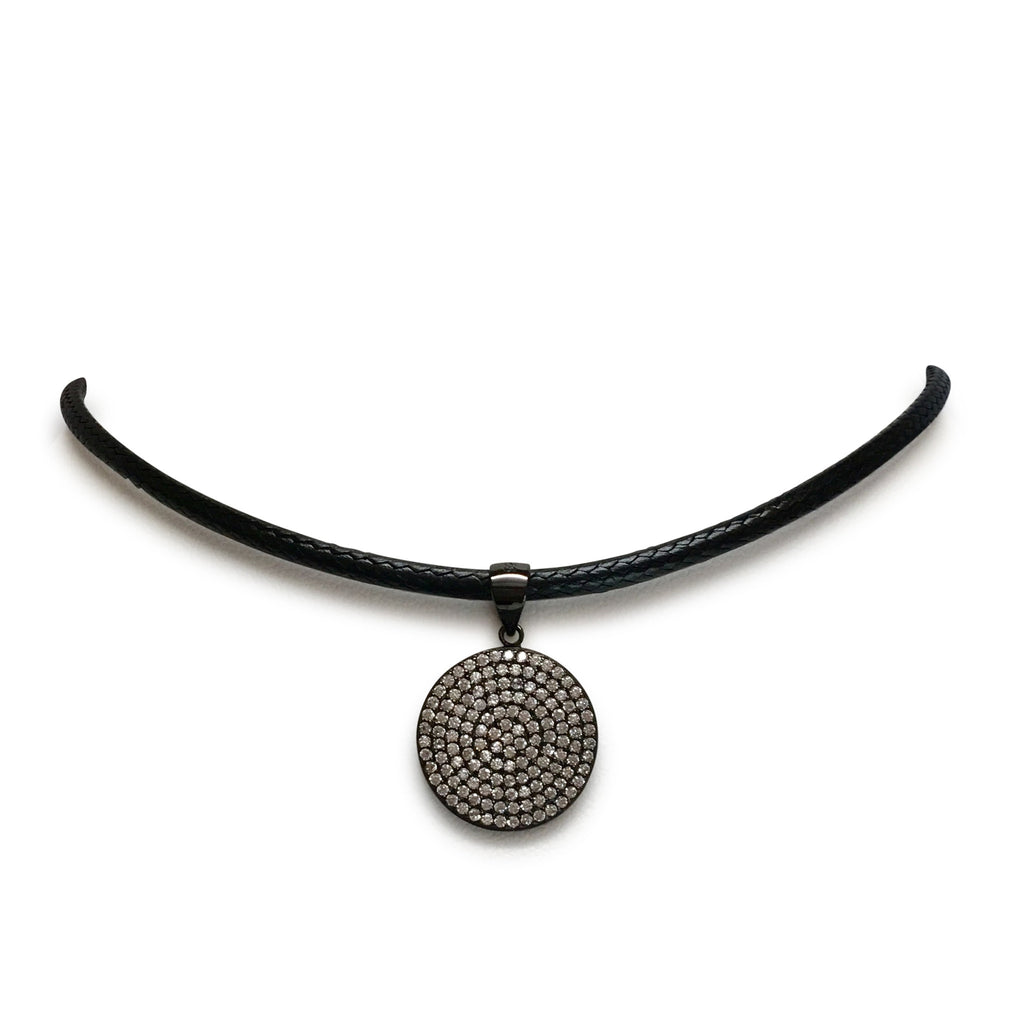 Medium cz disk on leather choker