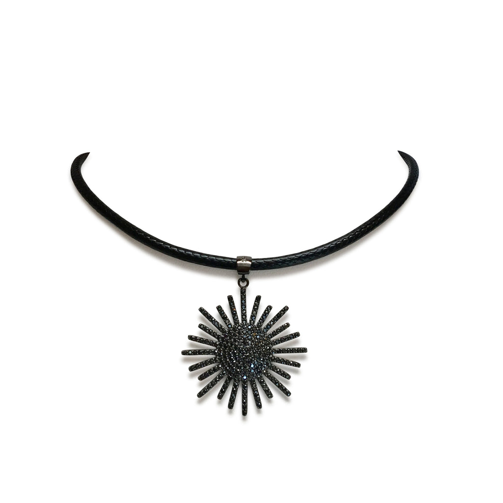 Black cz starburst on leather choker