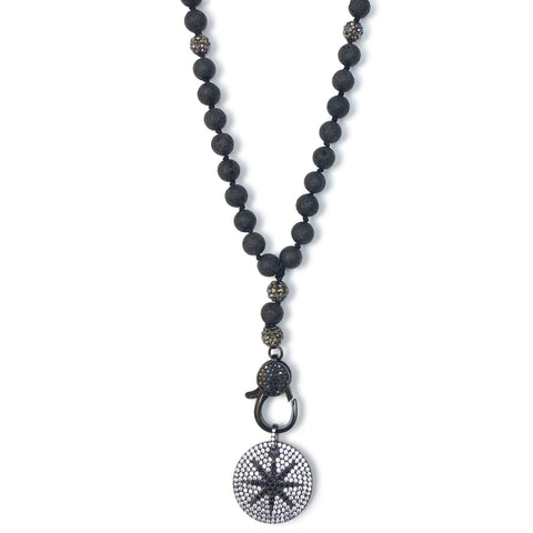 "Long lava stone star ""y"" charm necklace"