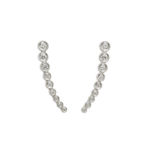 Diamond bezel ascending earring