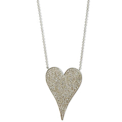 Jumbo modern pave diamond heart