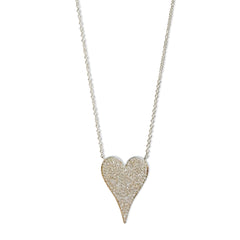 Medium modern pave diamond heart