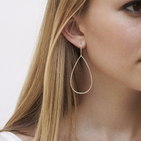 Diamond open teardrop earring