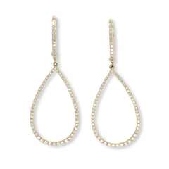 Small diamond open teardrop earring