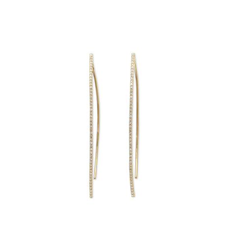 "Diamond ""V"" stick earring"