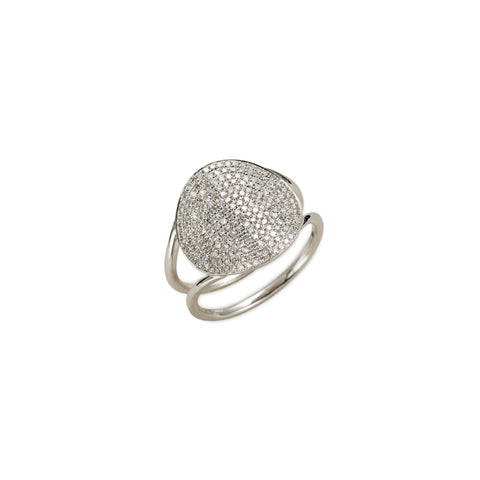 Pave diamond circle disk ring