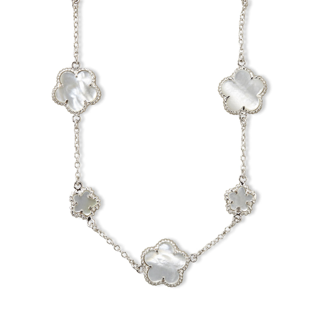 "16"" mother of pearl clover necklace"
