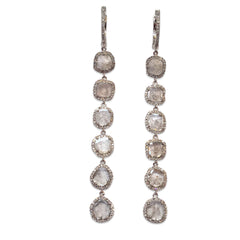 Long 6 diamond slice earrings