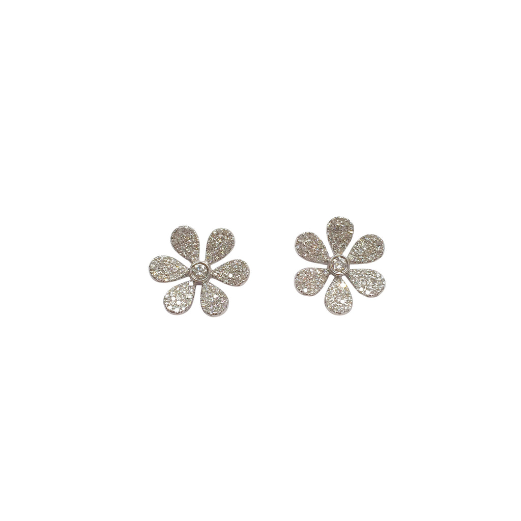 Pave diamond petal flower ear