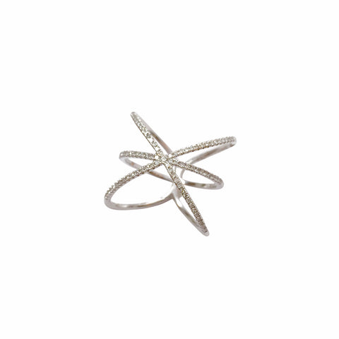 "Triple pave diamond ""X"" ring"
