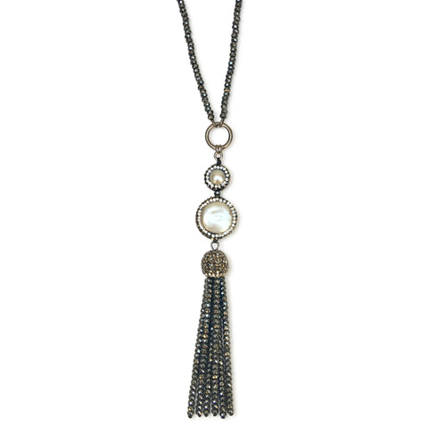 Long double pearl hematite necklace