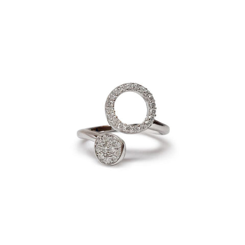 Open circle and disk cz cuff ring