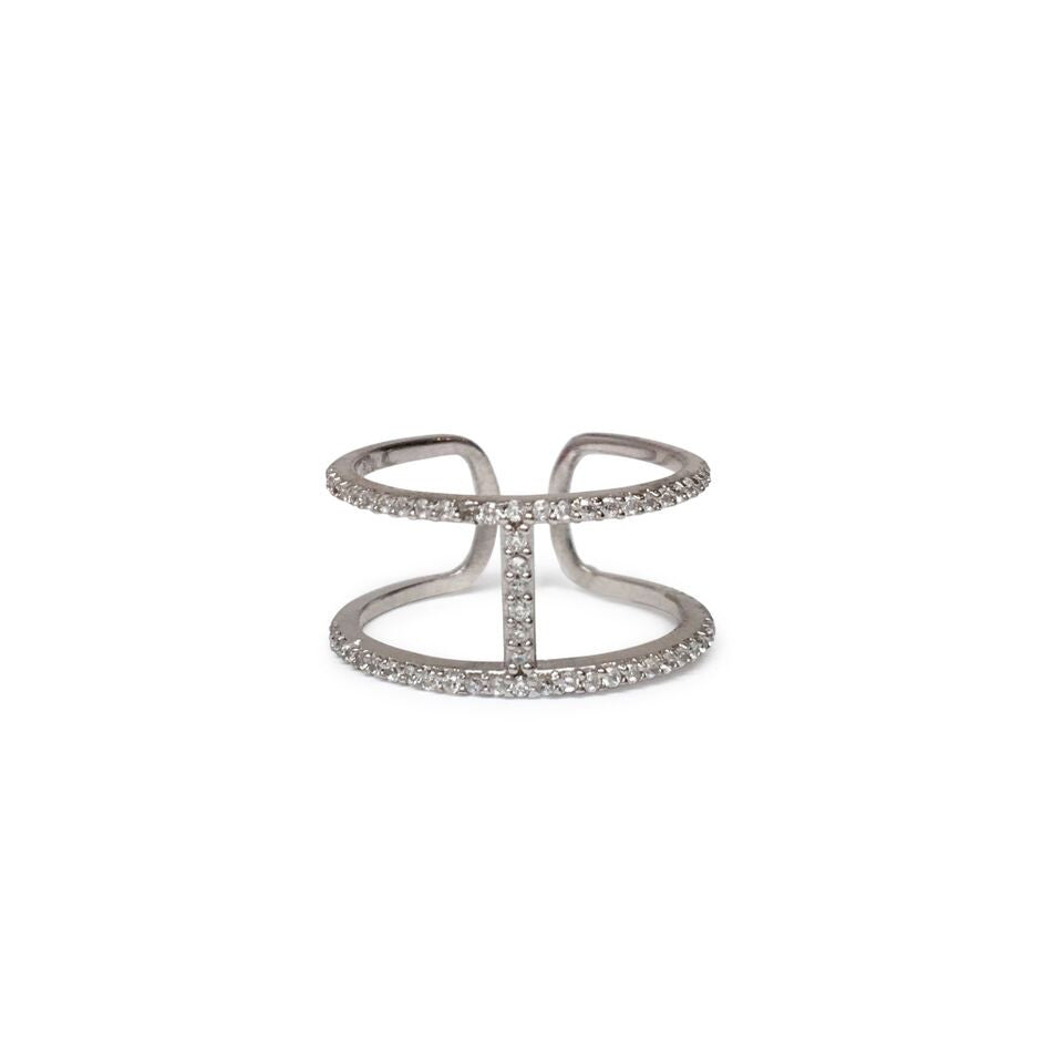 "Two line ""H"" cuff ring"