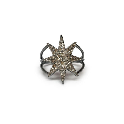 Champagne diamond pave starburst ring