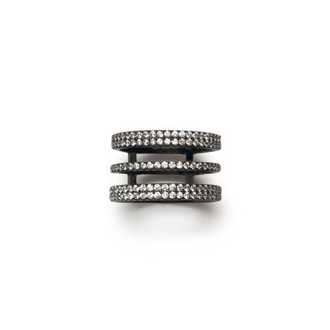Black rhodium 3 row cz line ring