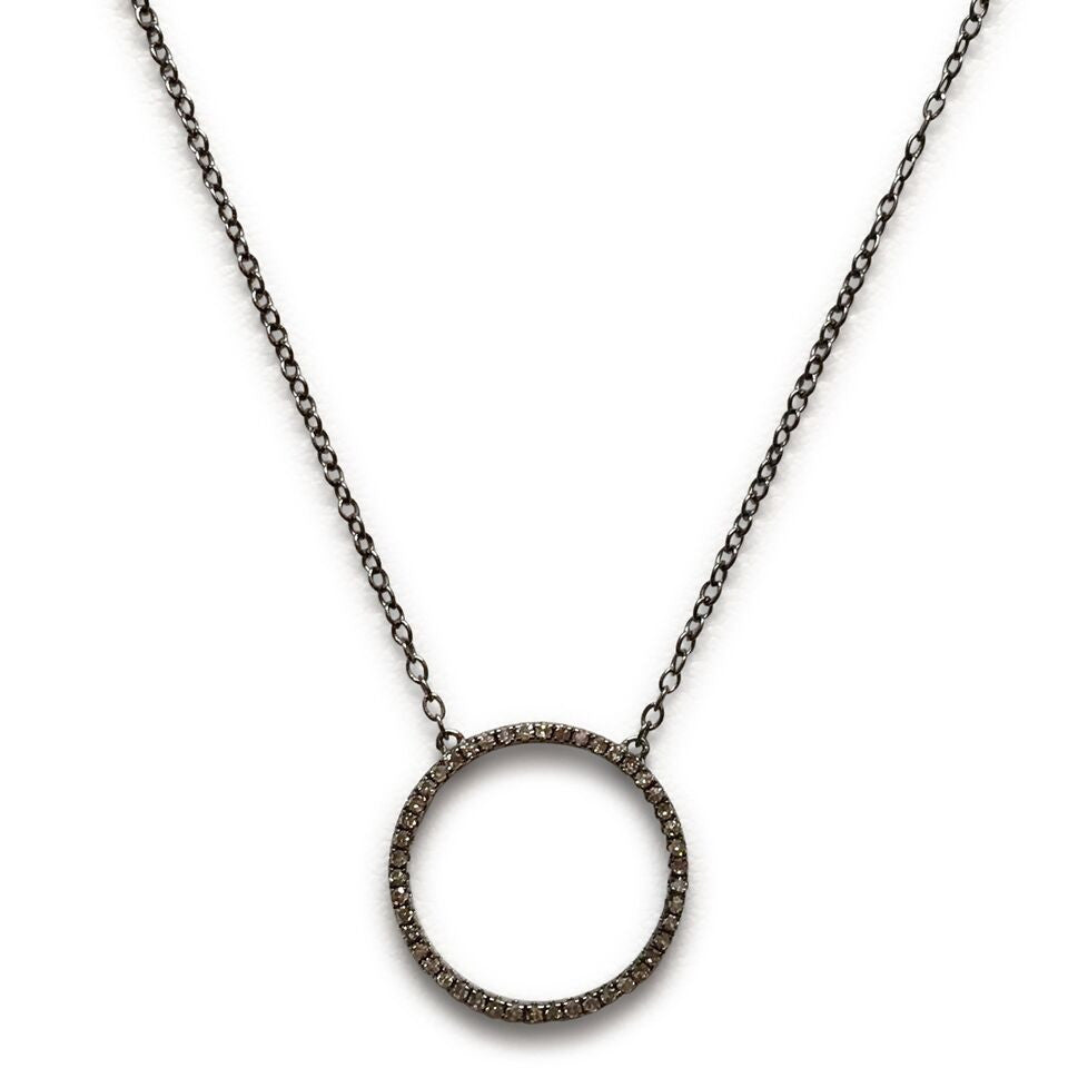 Champagne diamond open circle necklace