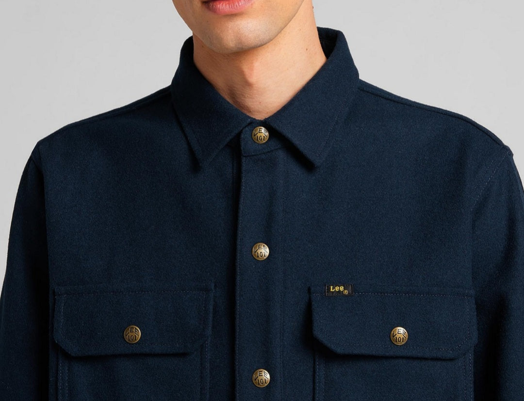 LEE101- OVERSHIRT WOOL MIX / NAVY