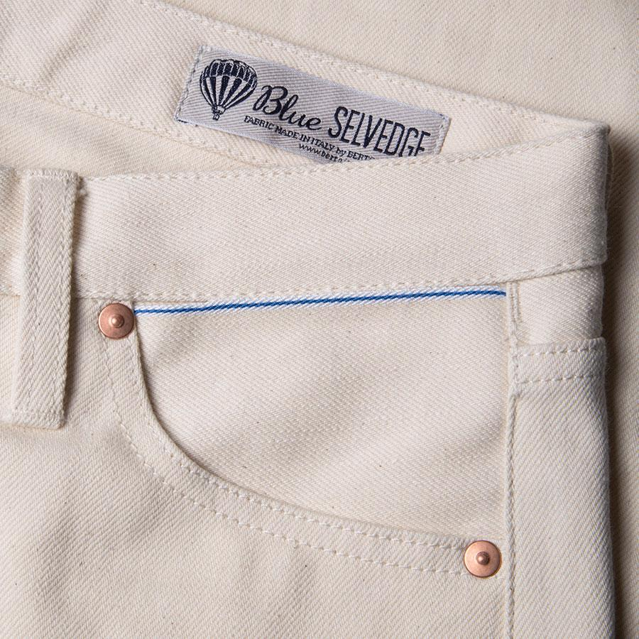 BENZAK W-01 STRAIGHT ,12 OZ. ECRU SELVEDGE
