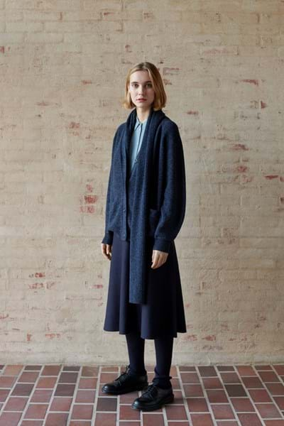 FUB - DOUBLE FACED WOOL SKIRT / NAVY