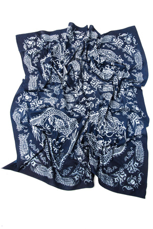 Indigo People - Dragon Scarf / Batik Screen Print