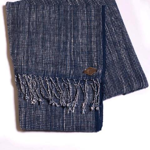 Minori Scarf - Handloomed Natural Indigo