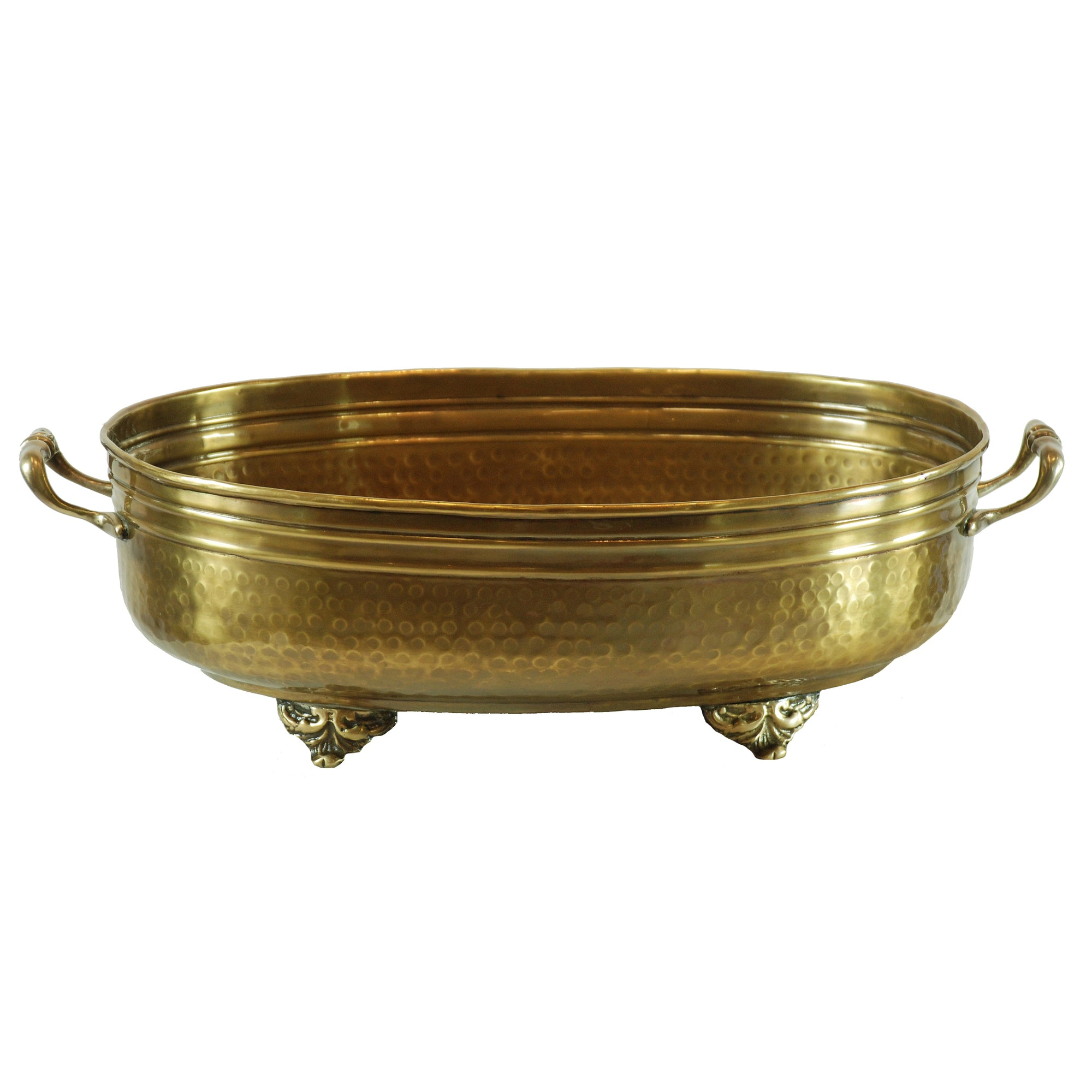 Oval brass metal planter with handle