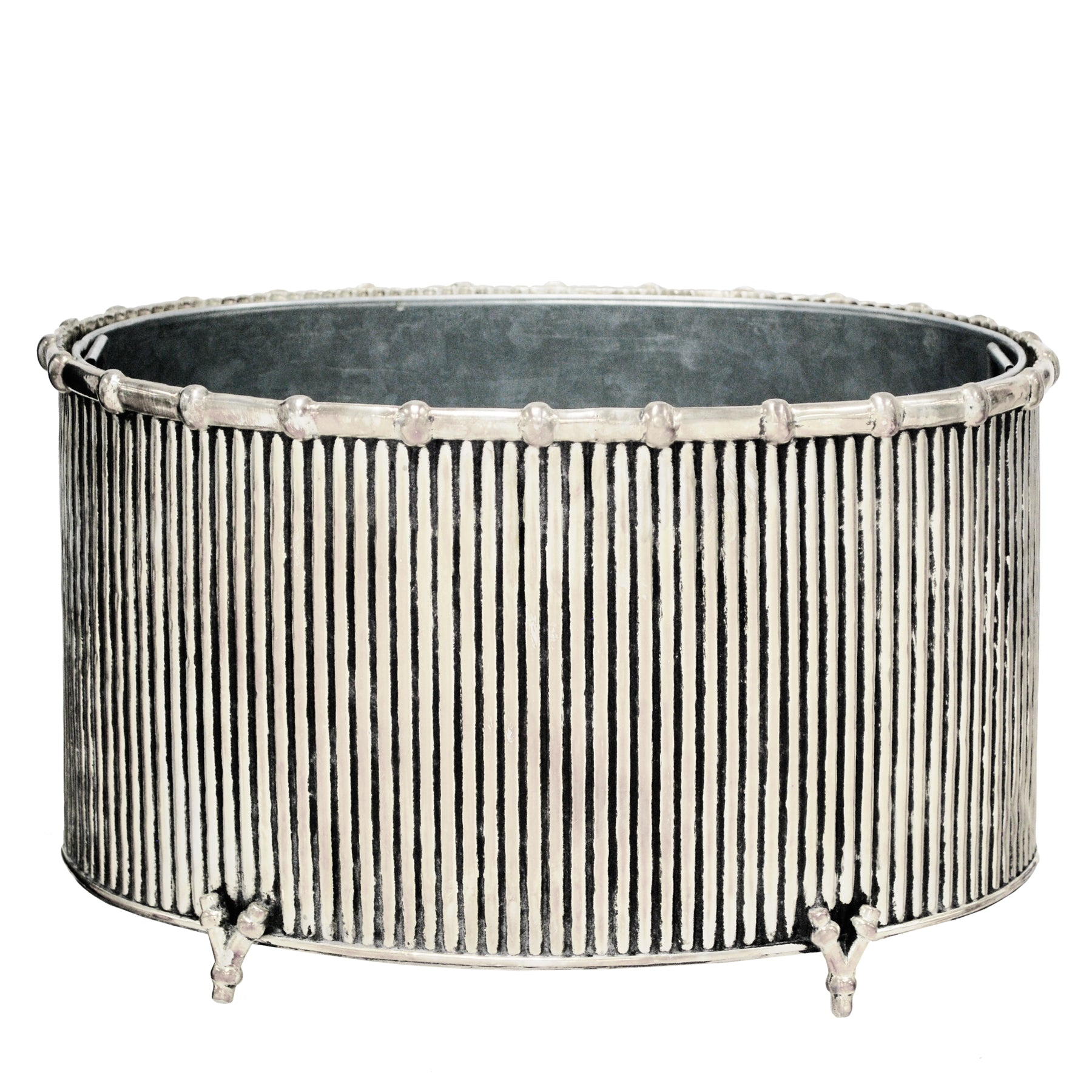 ANTIQUE OVAL STRIPE POT 9""