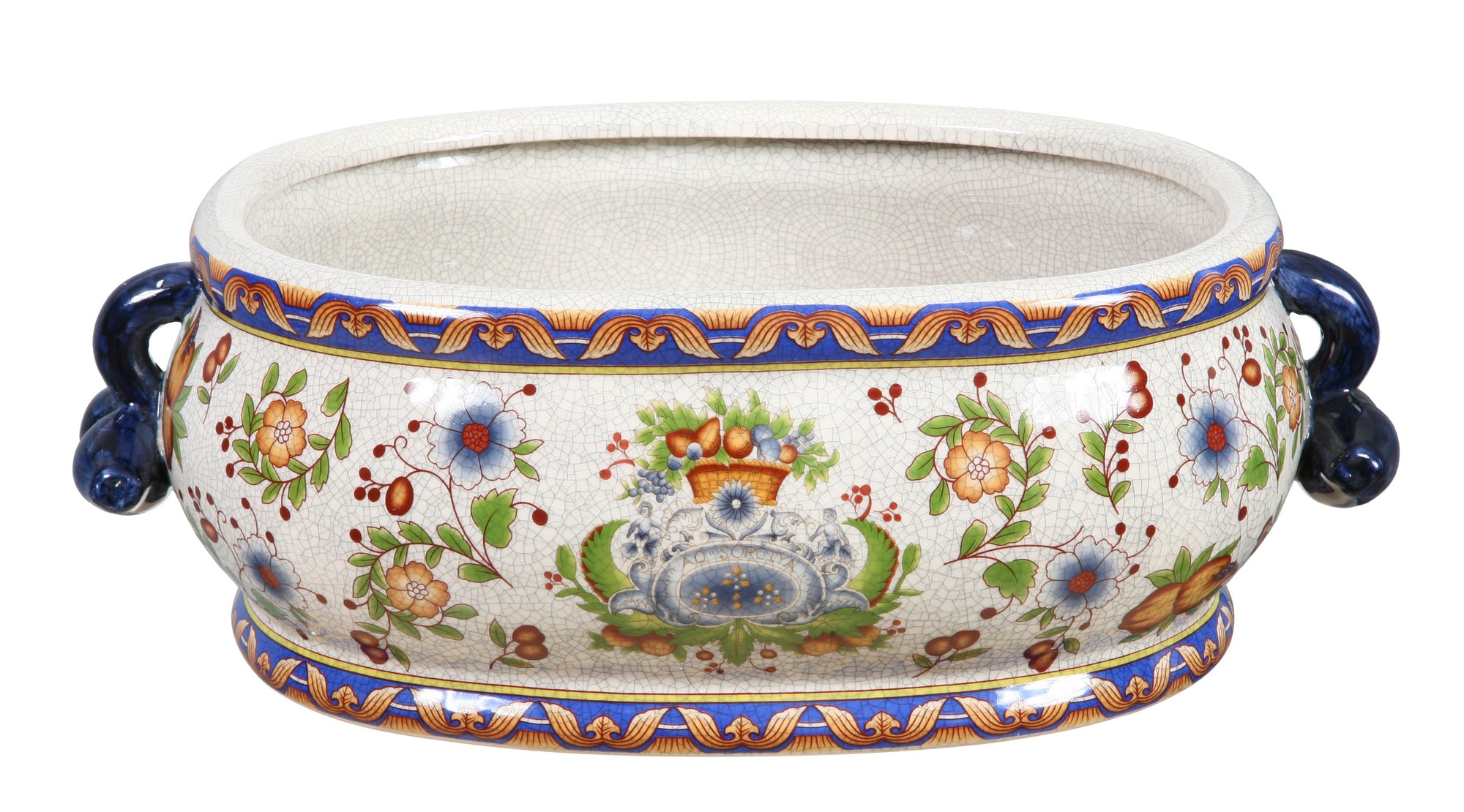 TUSCAN FLORAL OVAL CACHE POT 16'' WIDE