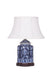 Dark blue chinoiserie jar lamp with a white shallow drum shade
