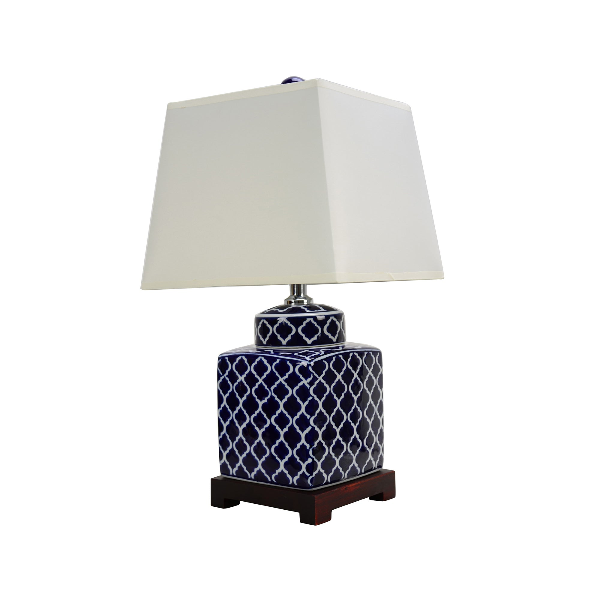 Dark blue quatrefoil motif pattern body with a white empire square-shaped shade