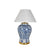 white and blue porcelain vase lamp with white empire shade