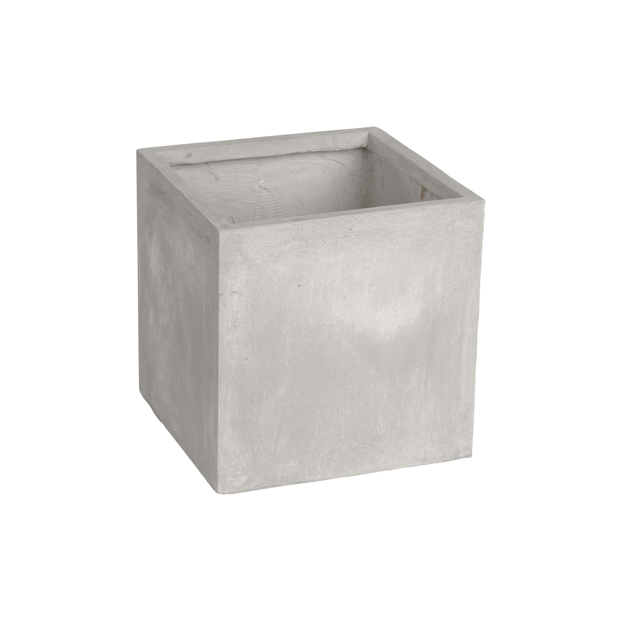 Handcrafted square stonecast planter in light grey