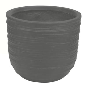swirling texture stonecast planter in charcoal
