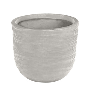 swirling texture stonecast planter in light grey