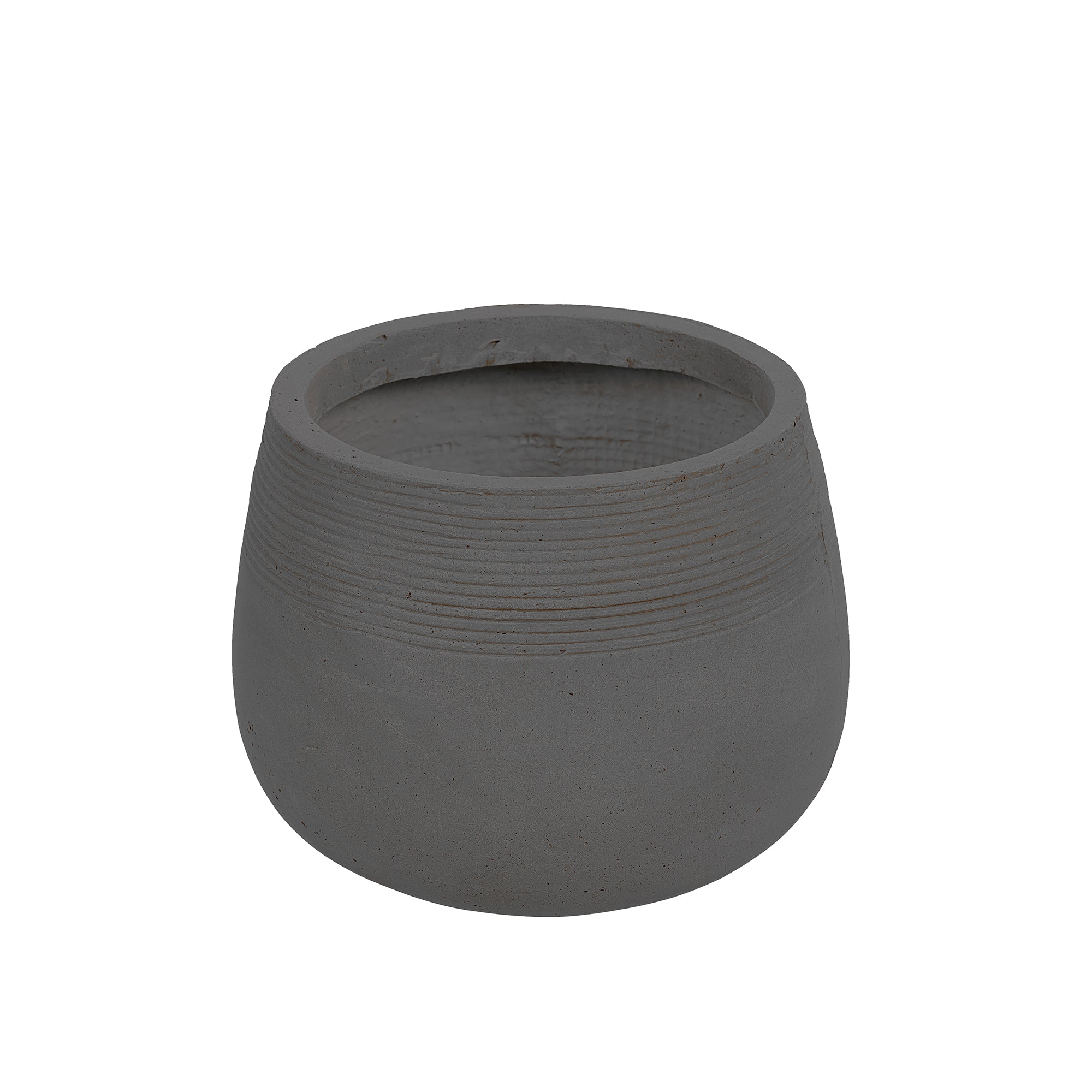 Contemporary round stonecast planter in charcoal