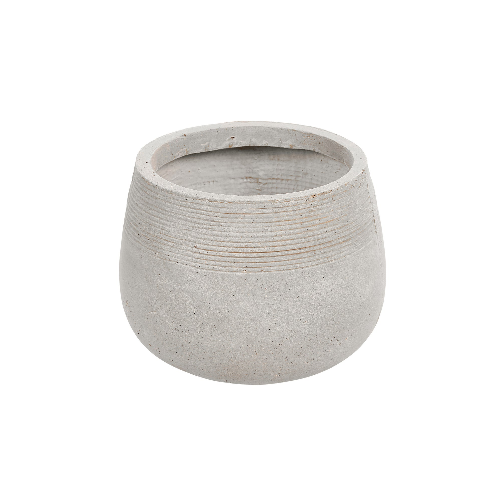 Contemporary round stonecast planter in light grey